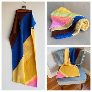 Vintage Crochet Asymmetric Stripe Throw Blanket